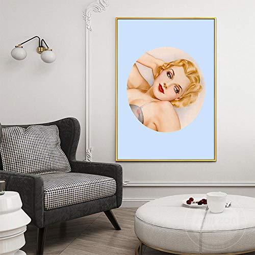 ZLARGEW Moda nórdica Moderna Mujer Sexy con Cabello Amarillo Lienzo Abstracto Pintura Art Print Poster Imagen...