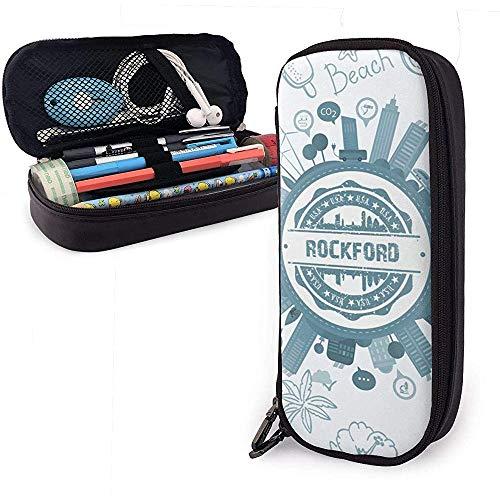 Rockford Illinois - Estuche de cuero de gran capacidad para lápices, soporte de papelería para bolígrafo, organizador de caja de bolsa de almacenamiento grande, bolsa de papelería para estudia