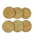 Juego de posavasos de ratán con diseño de tetera y tetera, hecho a mano, rústico, soporte...