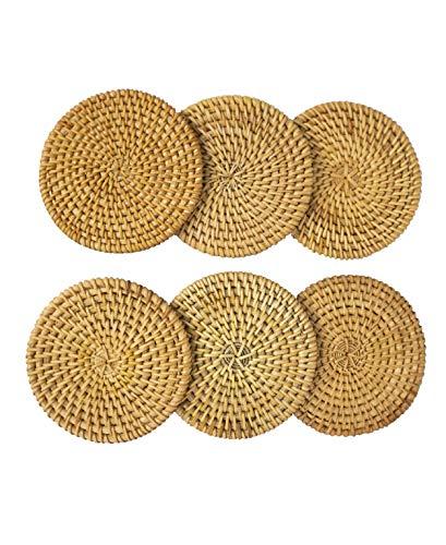 Juego de posavasos de ratán con diseño de tetera y tetera, hecho a mano, rústico, soporte decorativo para mesa de cocina, escritorio, oficina, hotel, cafetería, tienda