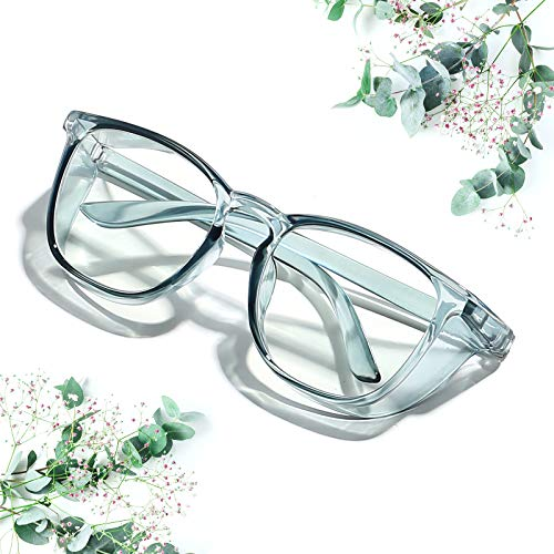 Safety Glasses Goggles Anti-fog Glasses Protective Eyewear, Clear Anti-Scratch/ Anti-Blue Ray Safety Glasses for Men and Women Glasses, Transparent Frame (Blue)