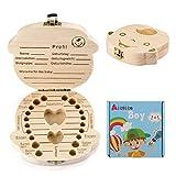 Aitsite Zahnbox Holz Milchzähne Box [Deutsch Version] Zahndose Milchzahndose Zahndöschen für Kinder (Junge) - 4