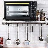 Fetcoi Soporte para microondas, estante de cocina, de acero inoxidable, para microondas, montaje en pared/encimera (53 cm de una sola capa + 6 ganchos)
