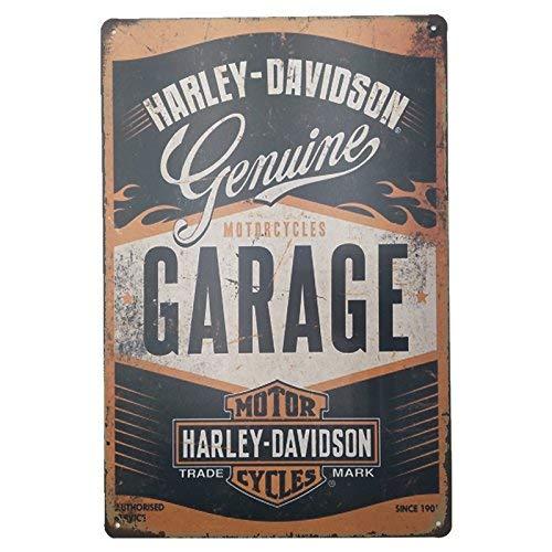 MARQUISE & LOREAN Placas Decorativas Pared Motos Harley Davidson Decoración Carteles Vintage Metálicos MIRA (Garaje, 30 x 40 cm)