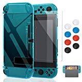 Case Compatible with Nintendo Switch, Fit The Dock Station, Protective Accessories Cover Compatible with Joy Con Controller and Console Dockable with a Tempered Glass Screen Protector