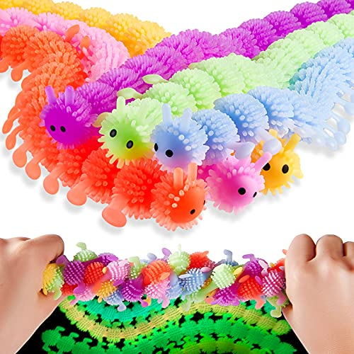 6 Pieces Luminous Caterpillars Fidget Sensory Toy for Anxiety, Stress Relief Fuzzy Stretchy Worm Glow in The Dark Noodles Play Toy for Home School Office Boys Girls Adults Calming Relaxing, 6 Colors