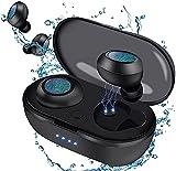 Écouteurs sans Fil Bluetooth 5.0 sans Fil avec IPX5 étanche avec Microphone intégré et contrôle Tactile, écouteurs avec étui de Charge Portable pour iPhone/Android/iOS