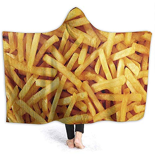Cathycathy French Fries Hooded Blanket Hooded Throw Wrap Hoodie Tragbare Decke mit Kapuze Sherpa-Decke