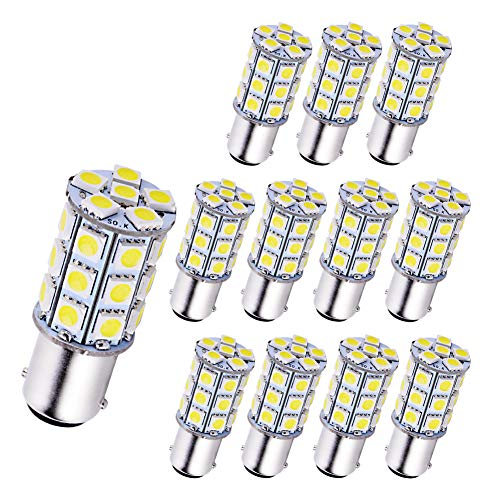 YINTATECH 12x BA15D 1076 LED Light Bulbs White for Car RV Trailer Motorhome Camper Tail Marine Boat 1004 1142 1130 1176 Super Bright, 12V DC, 5050 27SMD