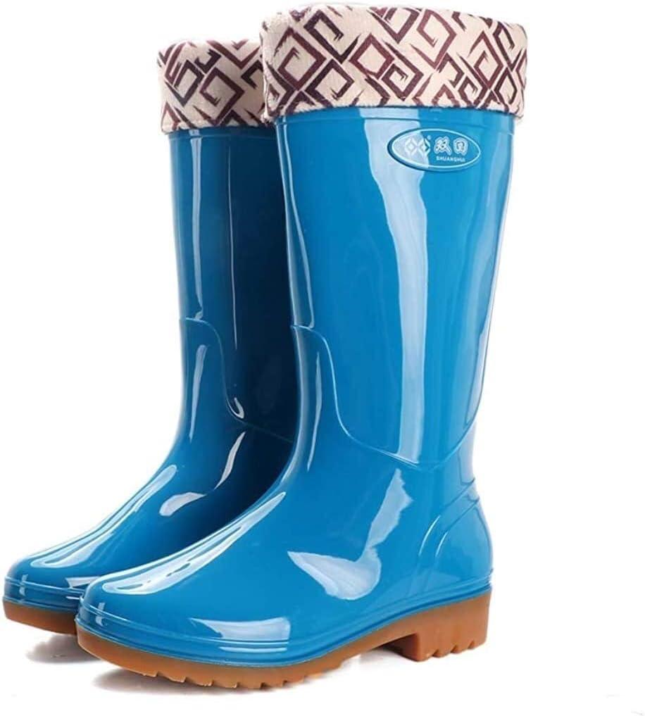 YUESFZ rain Boots Women's Knee High Rain Boots Waterproof High Tube Rain Boots Garden Boots Antiskid rain Boots (Color : Blue, Size : 37 EU)