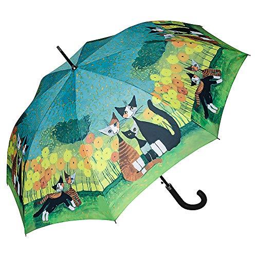 VON LILIENFELD Regenschirm Rosina Wachtmeister: All Together Auf-Automatik Damen Kunst Stockschirm Stabil Katze
