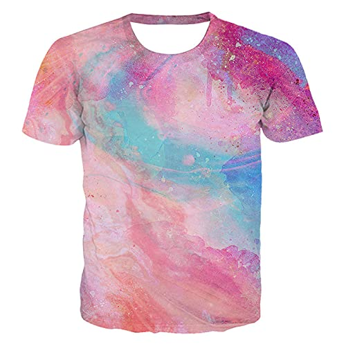 DREAMING-Camiseta Casual de impresión Digital en 3D, Jersey de Cuello Redondo y Manga Corta Suelta