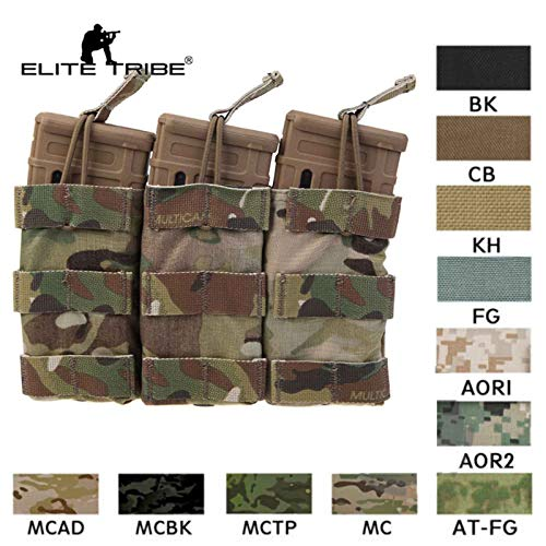 Paintball Equipment Military Airsoft Hunting Combat Magazine Pouch Tactical Modular Triple Open Top Magazine Pouch Multicam Emerson (AOR1)