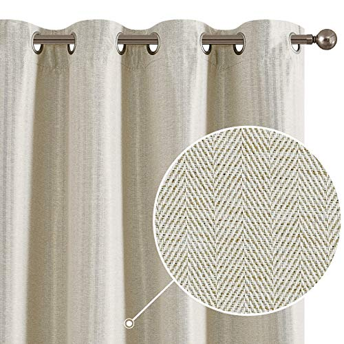 2 Panels Curtains Ivory 45 Inch Zigzag Textured Room Darkening Window Curtains for Bedroom Living Room or Kitchen