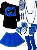 Blulu Juego de Accesorios de Disfraz de los Años 1980, Camisetas Tutu Diadema Pendientes Colalr Calentadores de Pierna (Azul Real, M)