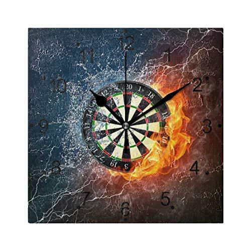 AmyyEden Darts Board Holz Wanduhr 30,5 cm quadratisch Deko Uhr für Home Office