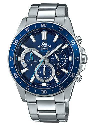Casio EDIFICE Reloj en caja sólida, 10 BAR, Azul, para Hombre, con Correa de Acero inoxidable, EFV-570D-2AVUEF
