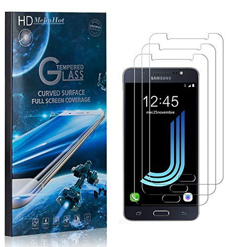 MelinHot Displayschutzfolie für Samsung Galaxy J5 2016, 99% Transparenz Schutzfilm aus Gehärtetem Glas, 9H Härte, Keine Luftblasen, 3D Touch, 3 Stück
