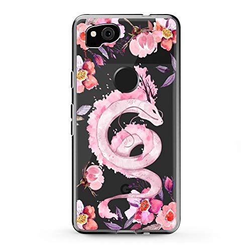 Lex Altern TPU Case Compatible with Google Pixel 4a 5G 5 XL 3a 3 XL 2 XL 2020 Beautiful Dragon Print Slim fit Soft Bloom Clear Dragon Cover Lightweight Flowers Blossom Design Anime Smooth Roses