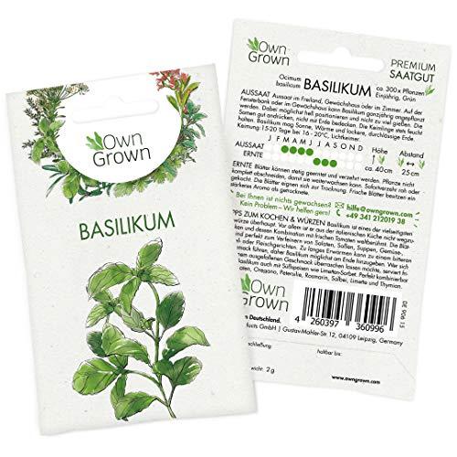 Basilikum Samen (Ocimum basilicum): Premium Kräuter Samen zur Anzucht von ca. 400x Basilikum Pflanze - Kräutersamen für die Aussaat in Garten, Indoor, Anzuchtset, Balkon - Saatgut Kräuter v. OwnGrown