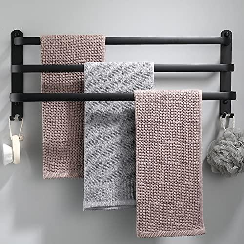 Porte-serviettes mural en aluminium - 3 étages - Avec crochets - 60 cm - Étanche - Noir - Pour salle de bain, cuisine, salle de bain