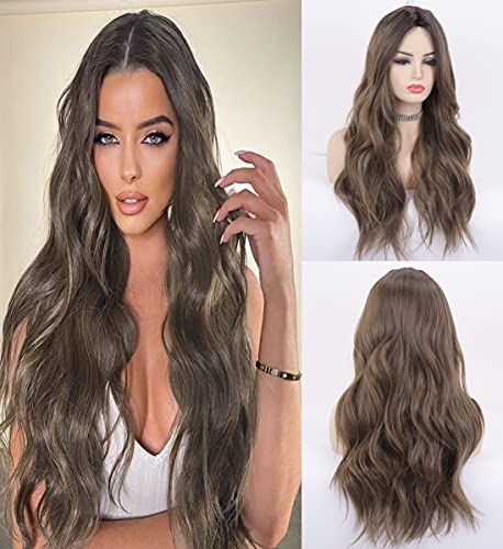 LANOVA Chocolate Brown Hair Wigs Black Rooted Ombre Brown Wigs for Women Synthetic Hair Affordable Wigs Long Hair Wavy Wigs 22 inch LANOVA-123