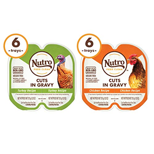 NUTRO Grain Free Natural Soft Wet Cat Food Paté Turkey Recipe and Chicken Recipe Variety Pack, (12) 2.6 oz. PERFECT PORTIONS Twin-Pack Trays
