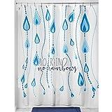 iDesign InterDesign Regentropfen-Duschvorhang aus Stoff, 183 x 183 cm, Blau / Mehrfarbig