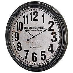 Bulova C4819 Hotelier Wall Clock, 60, Distressed Black Finish