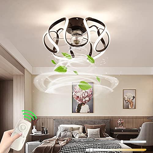 Lámpara De Techo LED Con Lámpara Control Remoto Ventilador Invisible Regulable Moderno Lámpara De Techo Ventilador De Acrílico De Hierro Dormitorio Sala De Estar Oficina Comedor
