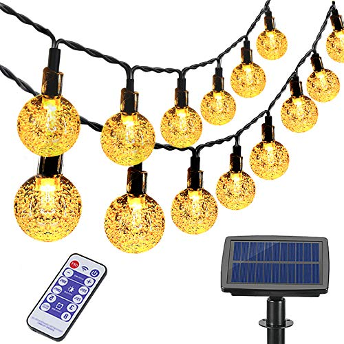 Guirlande Lumineuse Solaire Extérieure, Aenamer 100 LED Cristal Boules Lumières 17 Mètre, Étanche Interieur Décorative Guirlande pour Jardin Maison Fête Patio Terrasse Mariage