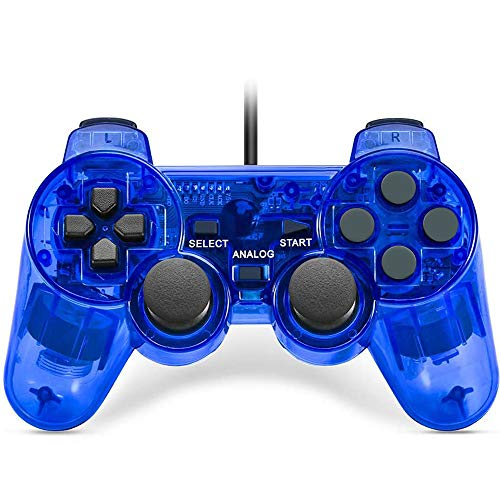 Fancyan 有線 PS2用 アナログ コントローラー playstation2 対応 ゲームパッド 日本語説明書 付(透明青)