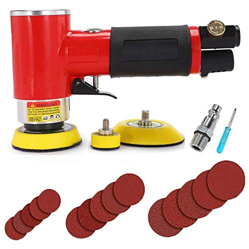 Autolock 1/2/3 Zoll Mini Druckluft Exzenterschleifer Poliermaschine/Schleifmaschine 15000 U/min+1 Schraubendreher / 1 Luftrohr-Schnellkupplung / 5 Blatt 1, 2 und 3 Zoll Schleifpapier/Produkthandbuch