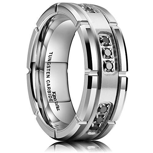 King Will GEM 8mm Mens Tungsten Carbide Wedding Ring Black Cubic Zirconia Inlaid CNC Matte Finish 10.5