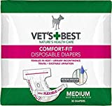 Vet's Best Comfort Fit Dog Diapers | Disposable Female Dog Diapers | Absorbent with Leak Proof Fit | Medium, 30 Count