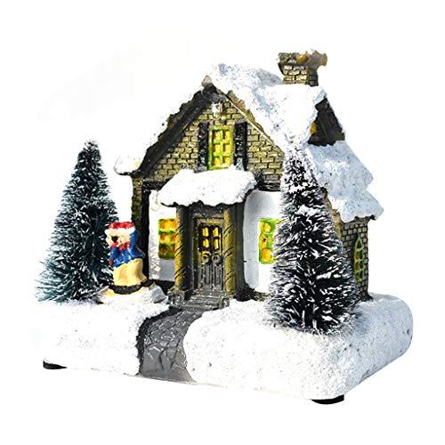 Ciudad de Navidad con decoración de nieve, pueblo de Navidad, casas de luz LED, escena de Navidad 3D, decoración...