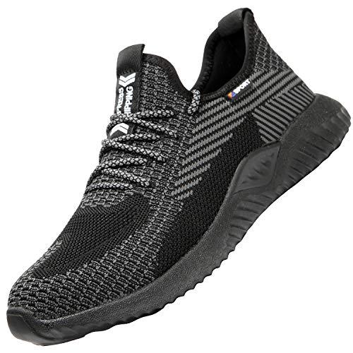 UCAYALI Zapatos de Seguridad Hombre Trabajo Ligeros Antiestaticos ESD Flexibles Calzados de Proteccion Safetoe Comodos Ligeras Zapatillas de Seguridad de Trabajo Anti Deslizante(014 Negro, 43 EU)
