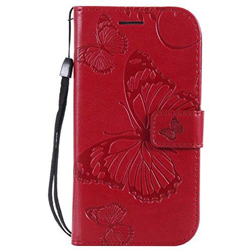 DENDICO Cover Galaxy S3, Pelle Portafoglio Custodia per Samsung Galaxy S3 Custodia a Libro con Funzione di appoggio e Porta Carte di cRossoito - Rosso