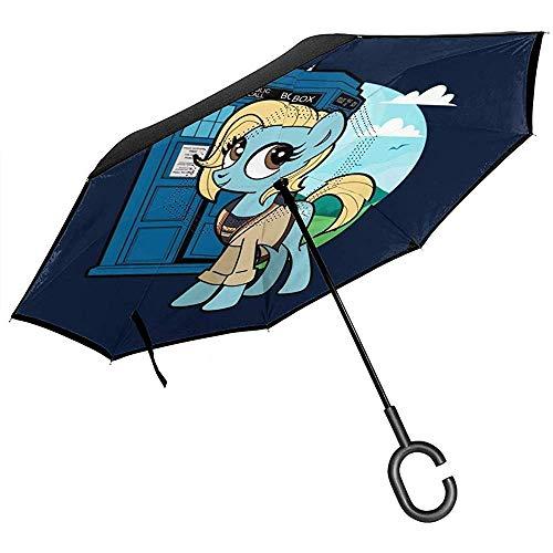 My Little Pony Doctor die omgedraaide paraplu voor auto omgekeerde vouwen ondersteboven C gevormde handen lichtgewicht winddicht ideaal geschenk