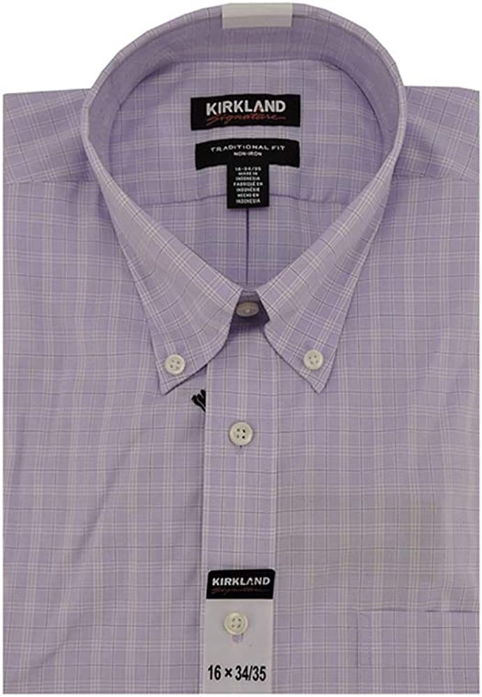 Kirkland Signature Non-Iron Long-Sleeves Traditional Fit Dress Shirt in Purple Plaid, 16 x 34/35