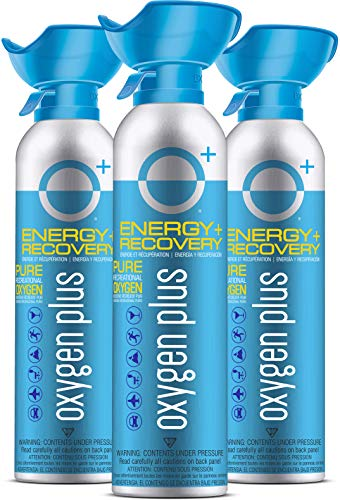 Oxygen Plus 99.5% Pure Recreational Oxygen Cans – O+ Biggi 3-Pack – 11 Liter Cans - Natural Breathing Remedy for Energy, Recovery – 50+ Uses – USA-Made Facility Oxygen – High-Purity Canned Oxygen