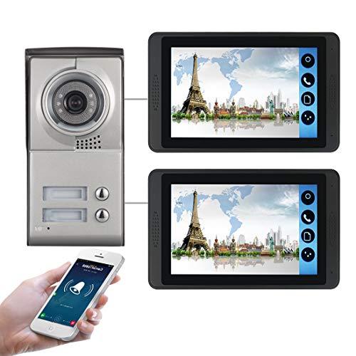 2-Familien WiFi Video Türsprechanlage mit 2 Farbdisplay, Kamera mit Nachtsicht, 4-Draht Technik, 16 Klingeltöne, Grau, APP (Model: 618MC12)
