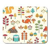 マウスパッドリスかわいい動物とカラフルなキツネの秋のパターンフクロウドングリマウスマット