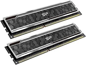 Silicon Power DDR3 16GB  2 x 8GB  1600MHz  PC3 12800  RAM 240-pin CL11 1.5V Unbuffered UDIMM Desktop Memory with Heatsink  SP016GBLTU160ND2J7
