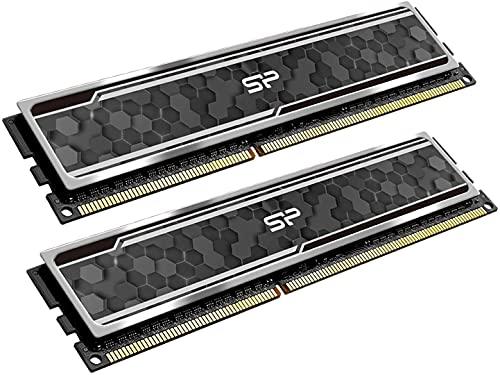 Silicon Power Gaming Series DDR4 16GB (8GBx2) 3200MHz (PC4 25600) 288-pin CL16 1.35V UDIMM Desktop Memory Module RAM with Heatsink Grey SU016GXLZU320BDAJ6