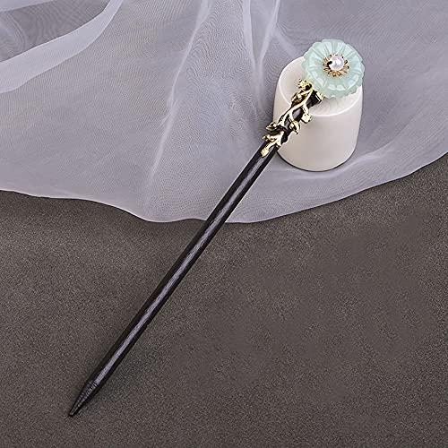 Clásico simple chino estilo vintage flor borla horquilla de madera señoras elegante Hanfu pelo palos tocado (C)