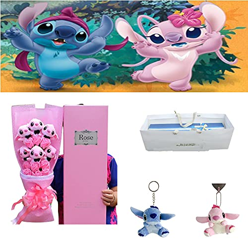 FgyFSAs Stitch Cartoon Flower Bouquet Plush Doll, Come with Stitch Doll Pendants of The Same Style, Cute Cartoon Artificial Plush Toys, Cartoon Lilo Stitch Plush Doll Toys, Wedding Party Gift (Pink)
