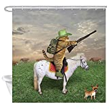 N\A Lustige Tiere Duschvorhang, Katze Cowboy mit Gewehr reitet EIN Pferd auf grünem Gras Ranch mit Kuh H& Duschvorhang für Badezimmer, Stoff Bad Set 12PCS Haken