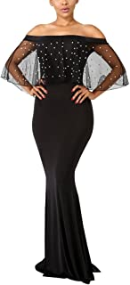 Aro Lora Women's Elegant Off Shoulder Mesh Pearls Beaded Prom Evening Wedding Bodycon Maxi Dress