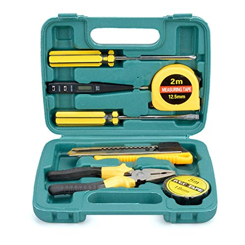 Caja de herramientas de mano con alicates de reglas de destornillado Pluma eléctrica Cinta eléctrica Multifunción Manual de la herramienta Mantenimiento conjunto (Color : 8PCS)